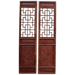 Pair of Chinese Antique Screens, Doors, Orchids and Pomegranates