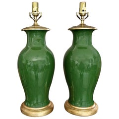 Pair of Chinese Asian Dark Green Porcelain Table Lamps