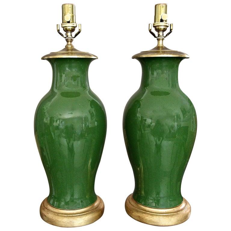 Pair Of Chinese Asian Dark Green, Porcelain Table Lamp