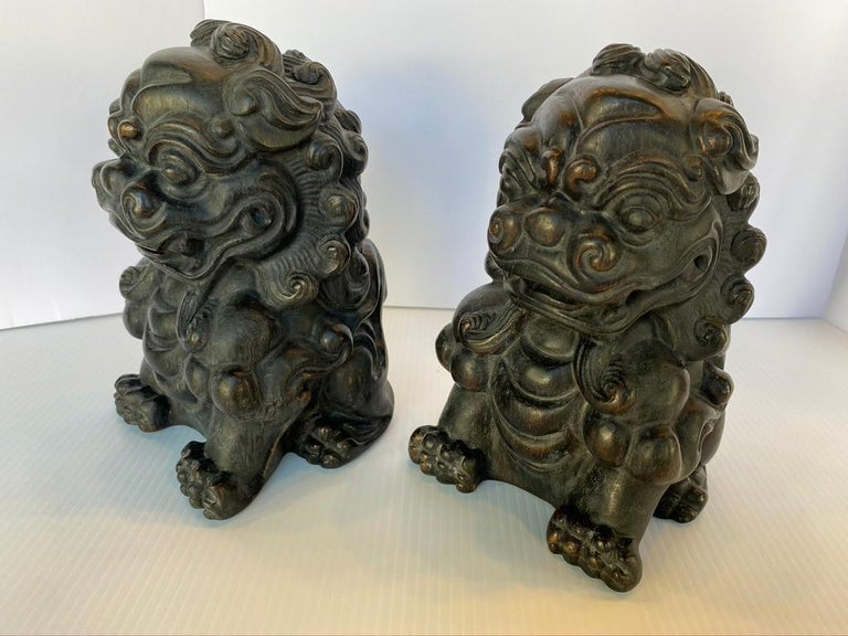 Chinese Export Pair of Chinese Bamboo Root Lions For Sale