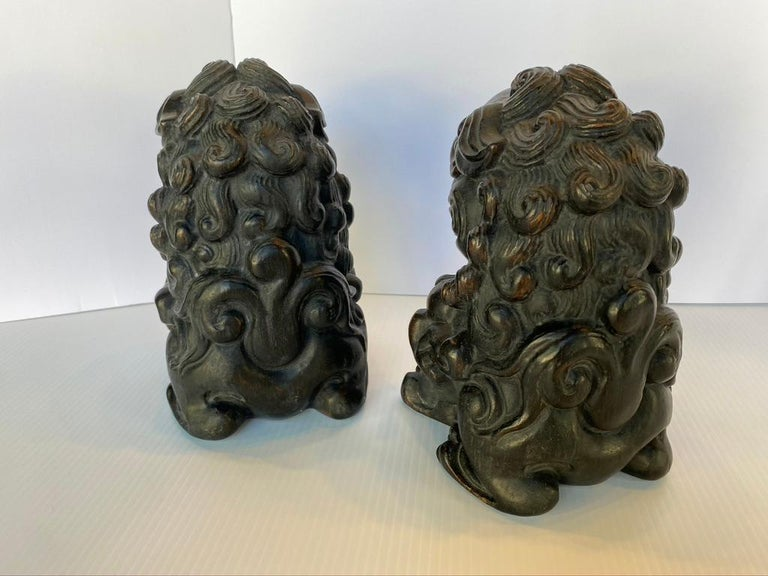 Pair of Chinese Bamboo Root Lions In Good Condition For Sale In Sarasota, FL
