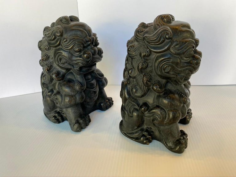 20th Century Pair of Chinese Bamboo Root Lions For Sale