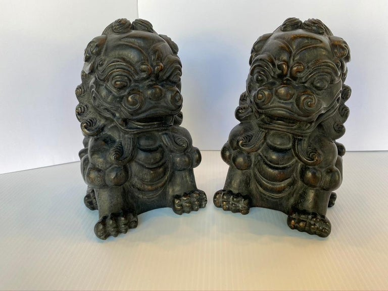 Pair of Chinese Bamboo Root Lions For Sale 1