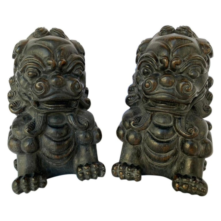 Pair of Chinese Bamboo Root Lions For Sale