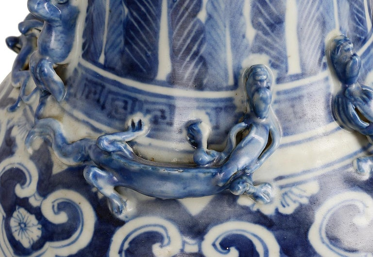 Chinese Export Pair of Chinese 19th Century Blue and White Vases / Lamps For Sale