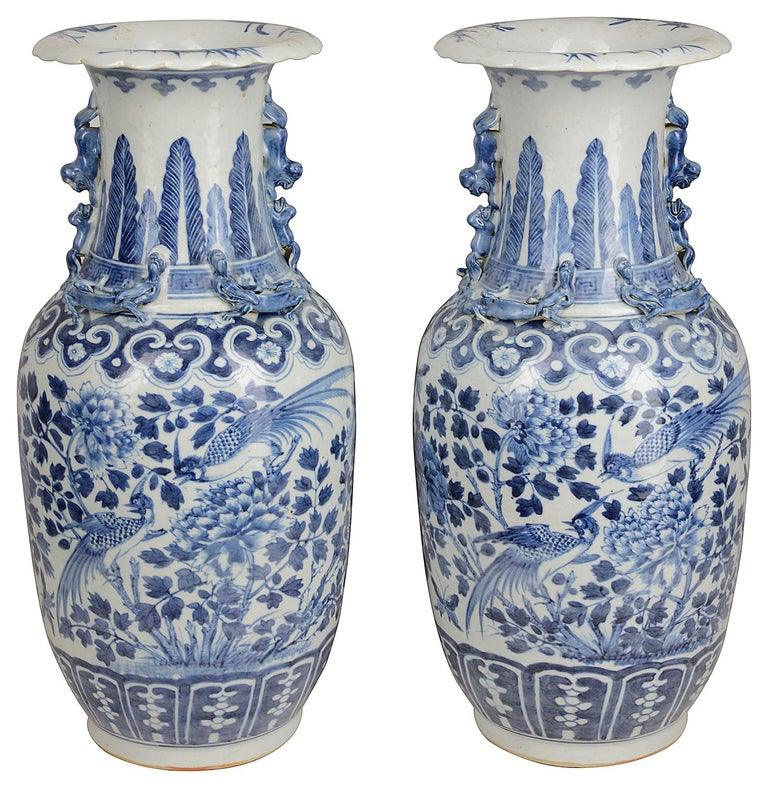 Pair of Chinese 19th Century Blue and White Vases / Lamps In Good Condition For Sale In Brighton, Sussex