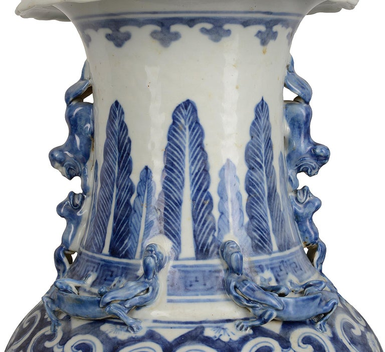 Pair of Chinese 19th Century Blue and White Vases / Lamps For Sale 1