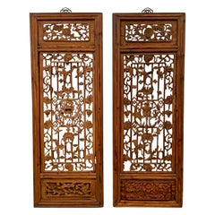 Pair Chinese Carved Hanging Window Panels, Qing Dynasty, 18th Century, China