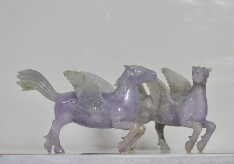 20th Century Pair of Chinese Carved Jade Winged Horses For Sale