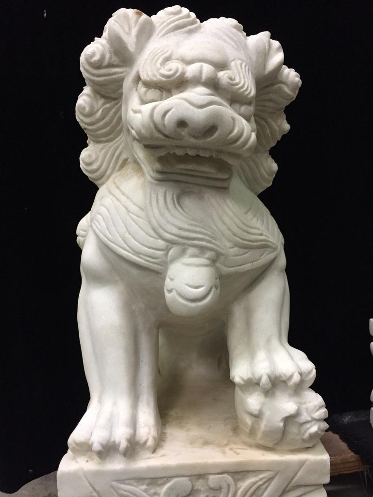 Hand-Carved Pair Chinese Carved White Marble Fu Dogs For Sale