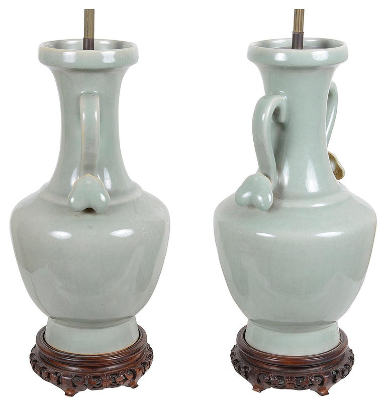 Chinese Export Pair of Chinese Celadon Porcelain Vases / Lamps, circa 1920 For Sale