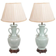 Pair of Chinese Celadon Porcelain Vases / Lamps, circa 1920