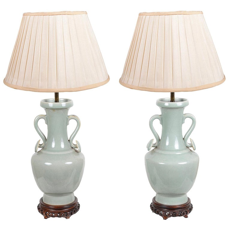 Pair of Chinese Celadon Porcelain Vases / Lamps, circa 1920 For Sale