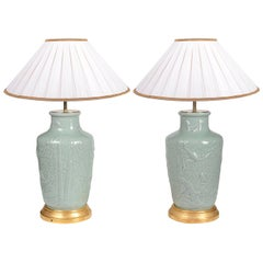 Pair of Chinese Celedon Porcelain Vases / Lamps, circa 1900