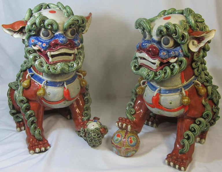 Pair Chinese ceramic foo dogs, 