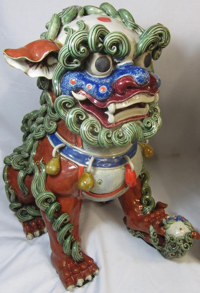 Hand-Crafted Pair Chinese Ceramic Foo Dogs For Sale