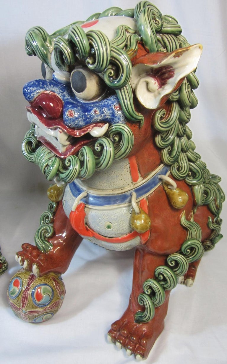 Pair Chinese Ceramic Foo Dogs In Excellent Condition For Sale In Runaway Bay, Queensland