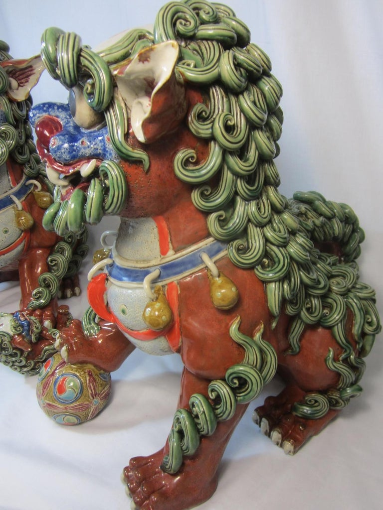 Late 20th Century Pair Chinese Ceramic Foo Dogs For Sale