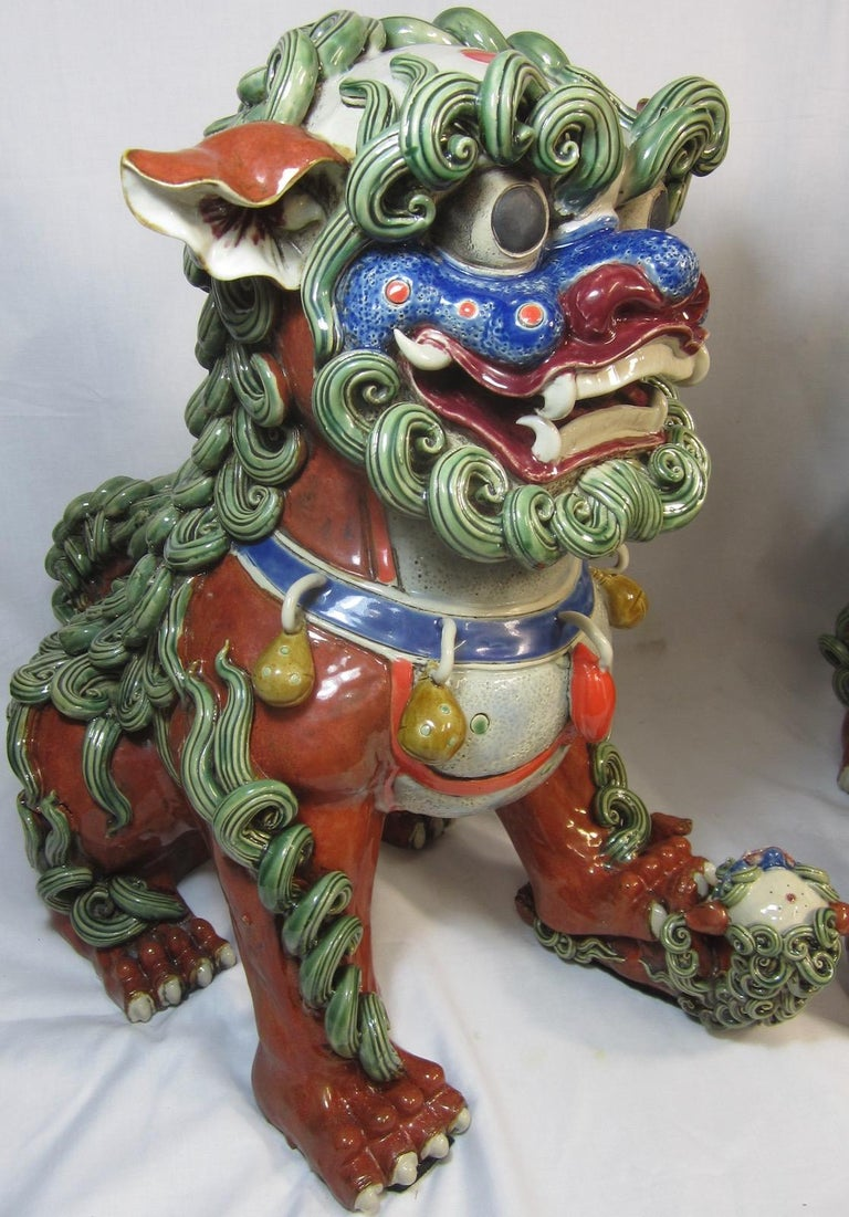 Pair Chinese Ceramic Foo Dogs For Sale 1