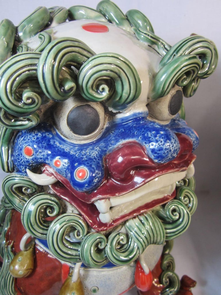 Pair Chinese Ceramic Foo Dogs For Sale 2