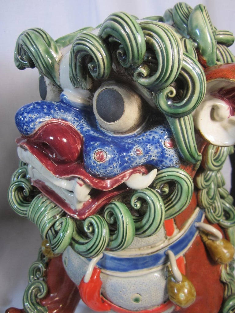 Pair Chinese Ceramic Foo Dogs For Sale 3