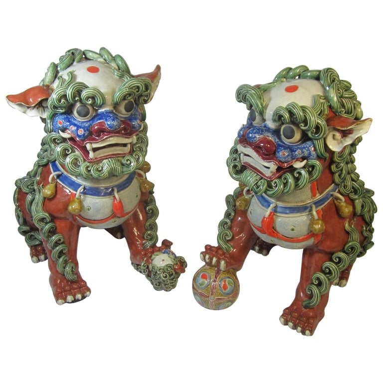 Pair Chinese Ceramic Foo Dogs For Sale