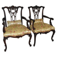 Pair of Chinese Chippendale Armchairs Carved Mahogany Frame