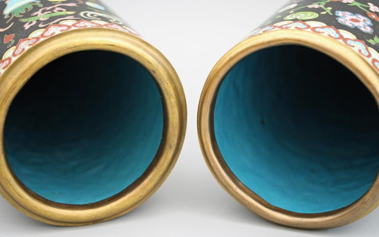 Pair of Chinese Cloisonné Cylindrical Precious Object Vases For Sale 8