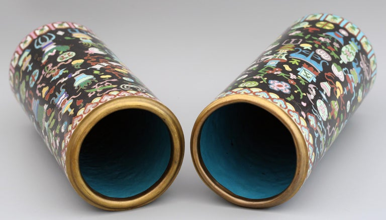 Pair of Chinese Cloisonné Cylindrical Precious Object Vases For Sale 9