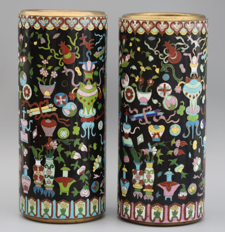 Pair of Chinese Cloisonné Cylindrical Precious Object Vases For Sale 11