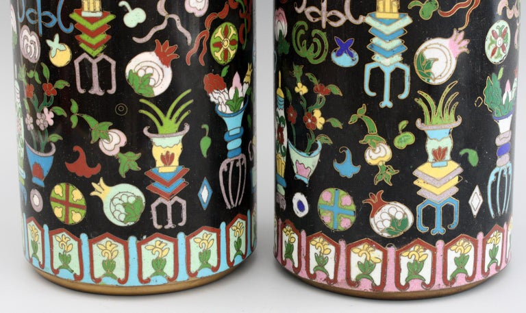 Pair of Chinese Cloisonné Cylindrical Precious Object Vases For Sale 12