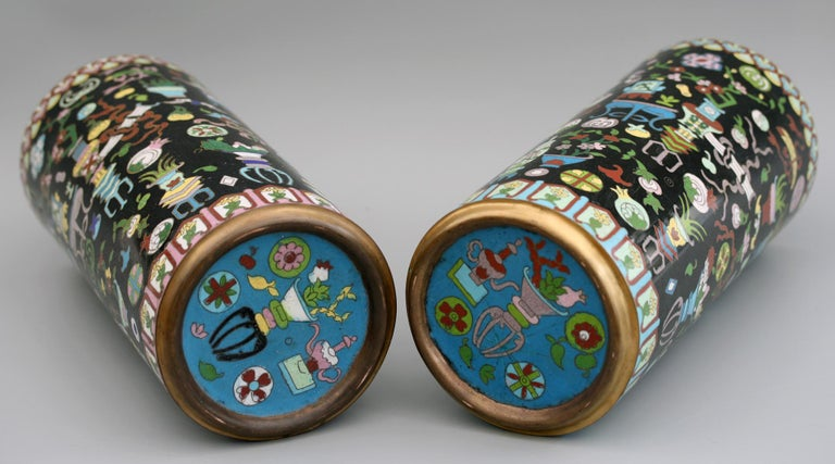 Pair of Chinese Cloisonné Cylindrical Precious Object Vases For Sale 13