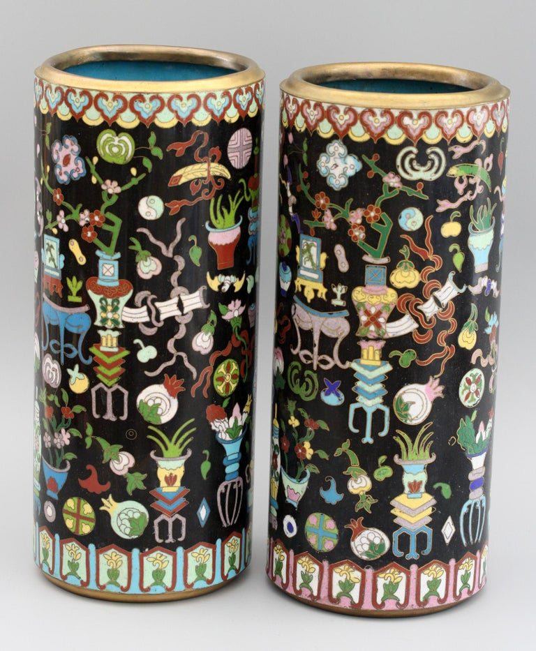 20th Century Pair of Chinese Cloisonné Cylindrical Precious Object Vases For Sale