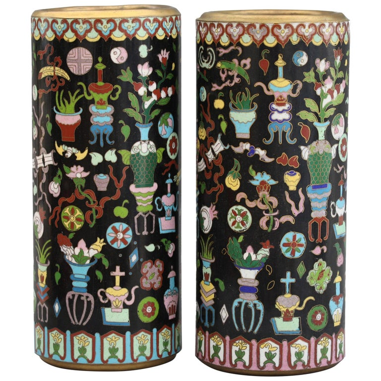 Pair of Chinese Cloisonné Cylindrical Precious Object Vases For Sale