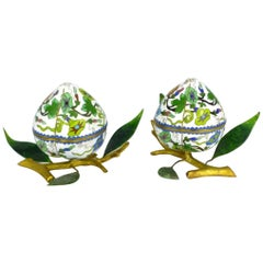 Pair of Chinese Cloisonné Enamel Peach-Form Box and Cover, circa 1890-1910