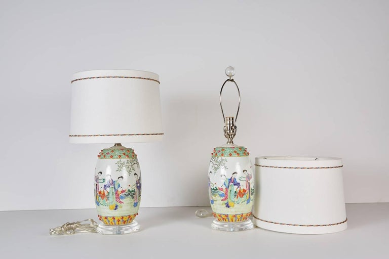 Chinese Export Pair of Chinese Drum Shaped Decorative Porcelains Custom Mounted as Lamps For Sale