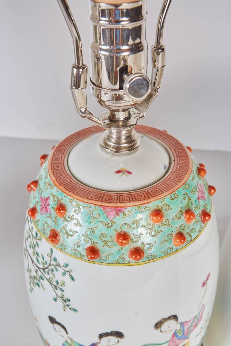 Hand-Crafted Pair of Chinese Drum Shaped Decorative Porcelains Custom Mounted as Lamps For Sale
