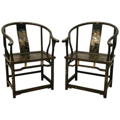 Pair Chinese Export Black Lacquer and Gilt Painted Horseshoe Back Chairs