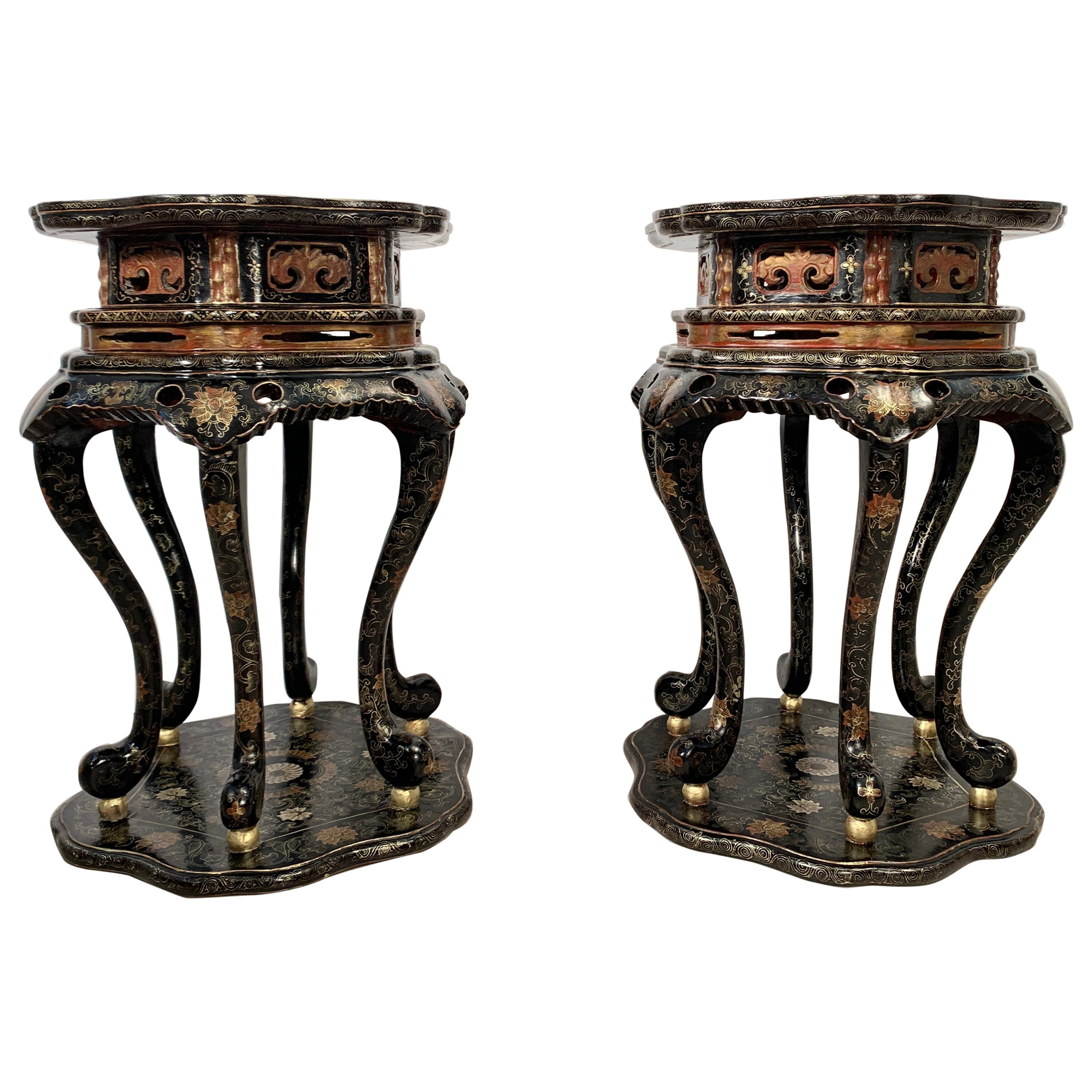 Pair Chinese Export Black Lacquer and Gilt Painted Side Tables, Mid 20th Century