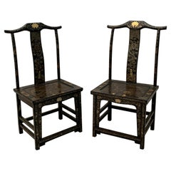 Pair Chinese Export Black Lacquer Gilt Painted Side Chairs, Mid 20th Century
