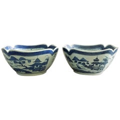 Pair of Chinese Export Blue and White Square Salad Bowls