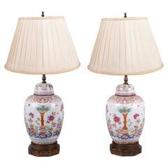 Pair of Chinese Famille Rose Ginger Jar Lamps, 19th Century