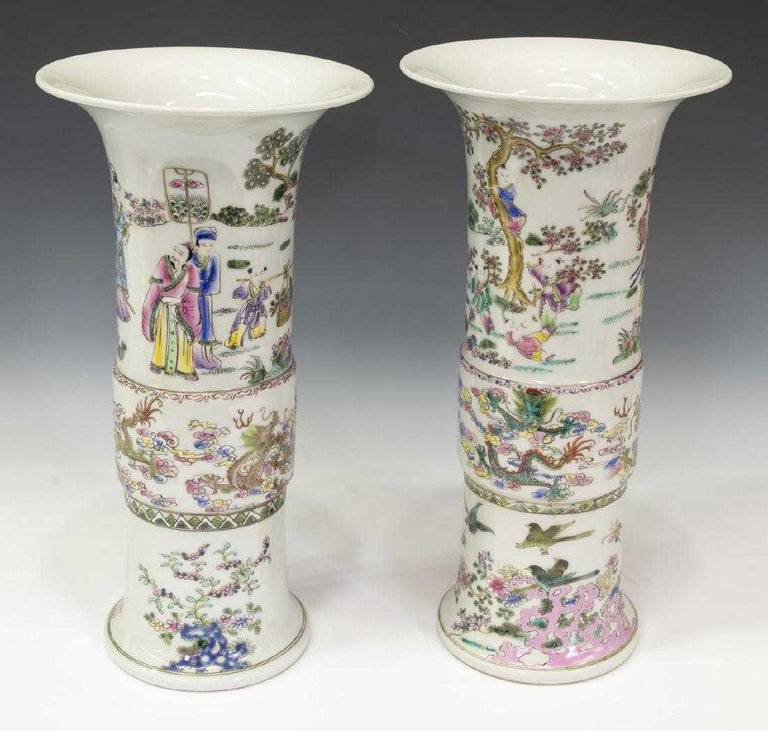 Painted Pair of Chinese Famille Rose Porcelain Beaker Vases For Sale