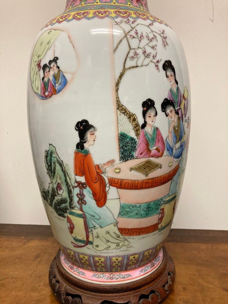 Pair Chinese Famille Rose Rouleau Vase Lamps For Sale 3