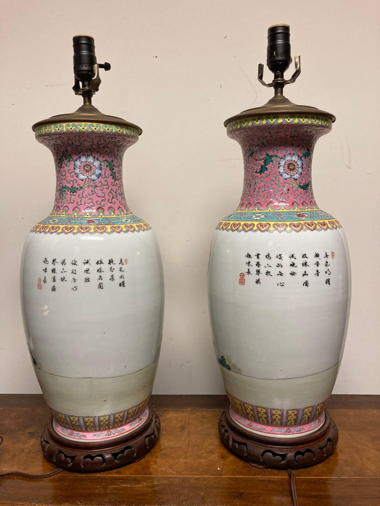 Pair Chinese Famille Rose Rouleau Vase Lamps For Sale 4