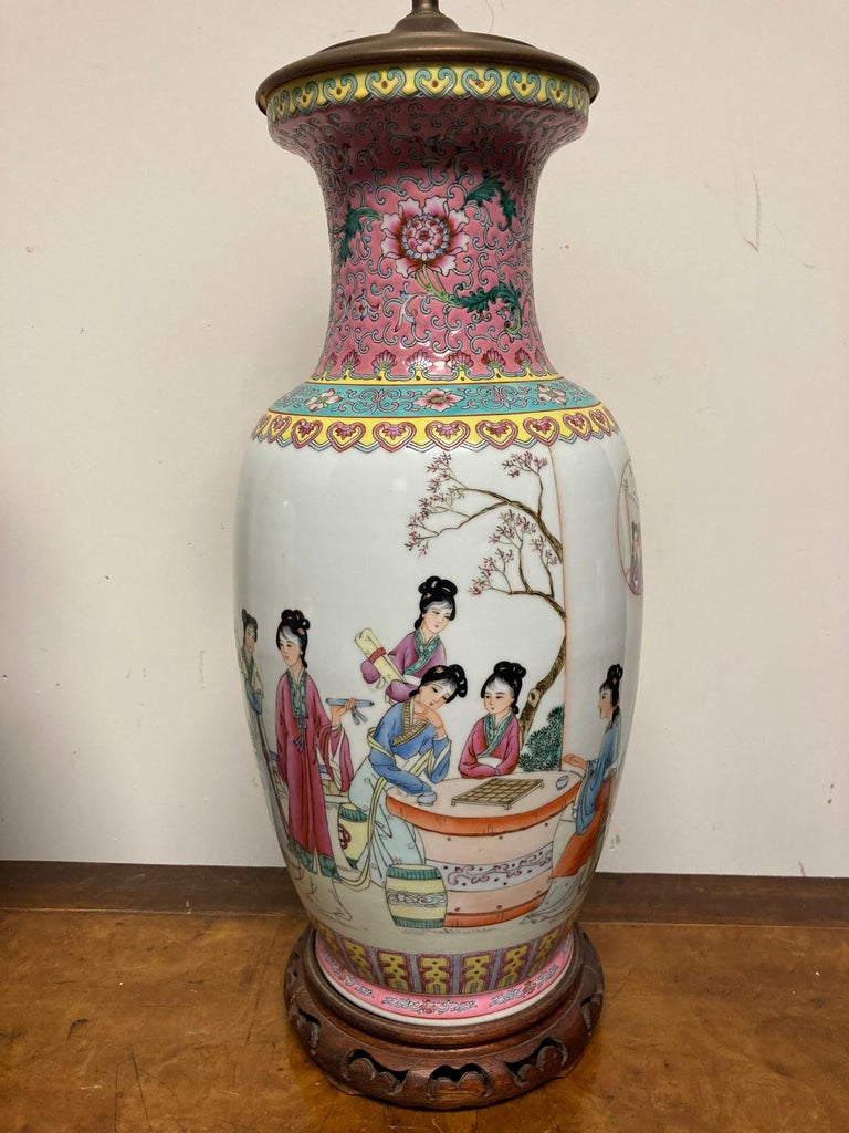 Pair Chinese Famille Rose Rouleau Vase Lamps For Sale 6