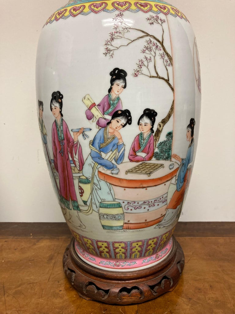 Pair Chinese Famille Rose Rouleau Vase Lamps For Sale 7