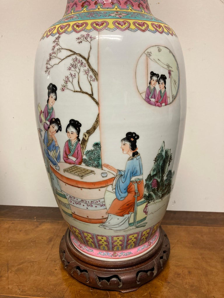 Pair Chinese Famille Rose Rouleau Vase Lamps For Sale 8