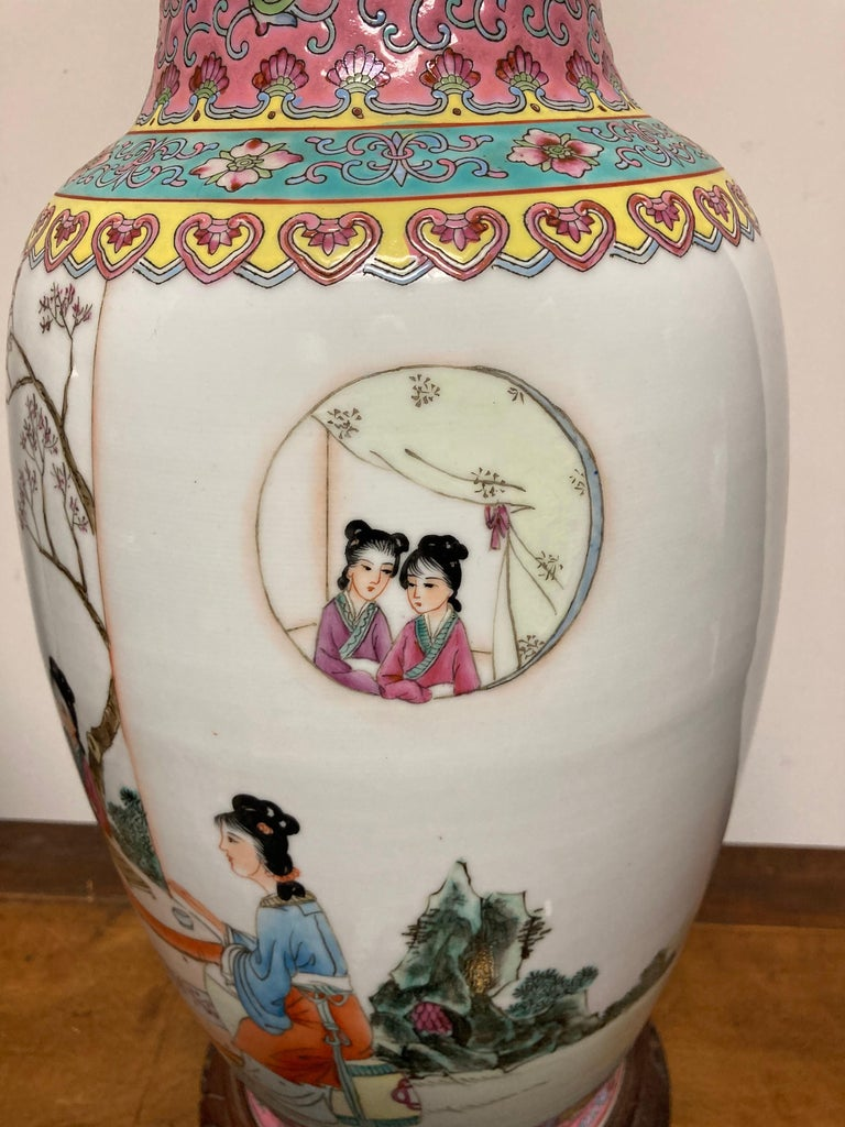 Pair Chinese Famille Rose Rouleau Vase Lamps For Sale 9
