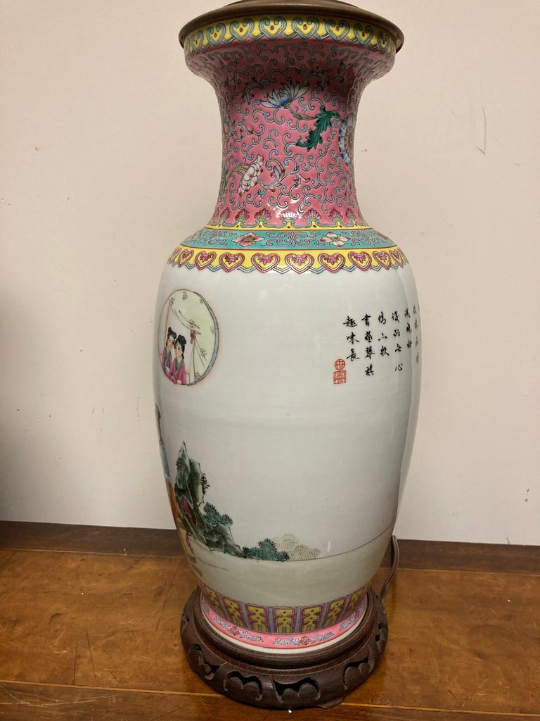 Pair Chinese Famille Rose Rouleau Vase Lamps For Sale 10